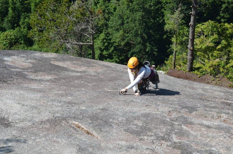Rock Climbing Photo: Winnie running up the final pitch on Skywalker