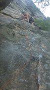 Rock Climbing Photo: Me on the FA  Photo Credit Nick Pritchard.
