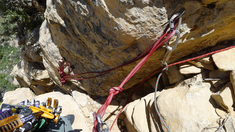 Rock Climbing Photo: Second rappel anchor (from top), and end of pitch ...