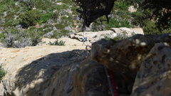 Rock Climbing Photo: Second rappel, you can see the slings of the last ...