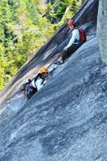 Rock Climbing Photo: Gail and Winnie at the top of P3.  Right at the st...
