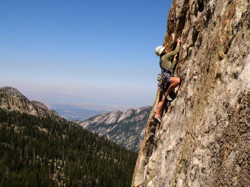 Rock Climbing Photo: Hard to beat the scenery- Jackie Waring leads Azal...