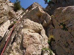 Rock Climbing Photo: Pitch one of Vino Santo- old pin is near the photo...