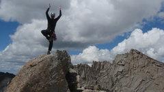 Rock Climbing Photo: A little Yoga on top of Pingora