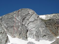 Rock Climbing Photo: The red line indicates our path on Leftover Direct...