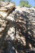 Rock Climbing Photo: Fear Feather 5.10d, Topo