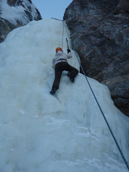 Ice climbing near Denali, Dragon Fly Falls, Ak