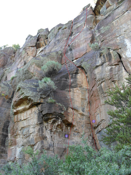 Rock Climbing Photo: Routes number 15 and 16, fractions of a whole and ...