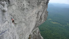 Rock Climbing Photo: Brian following a route that traverses out from th...
