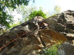 Rock Climbing Photo: nick warmin up on rack for sale