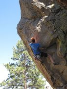 Rock Climbing Photo: Going left: Reaching past the arete from the big u...