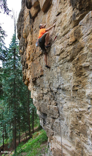Alex moves past the easy moves as he climbs towards the reachy dihedral.<br> Cattle Drive (5.10+).