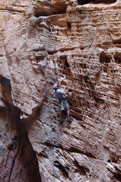 "Rock Climbing Photo: Arjun on the steep pockets of ""Free Refills&q..."