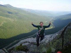 Rock Climbing Photo: Top of Moby Grape, Cannon Cliff.