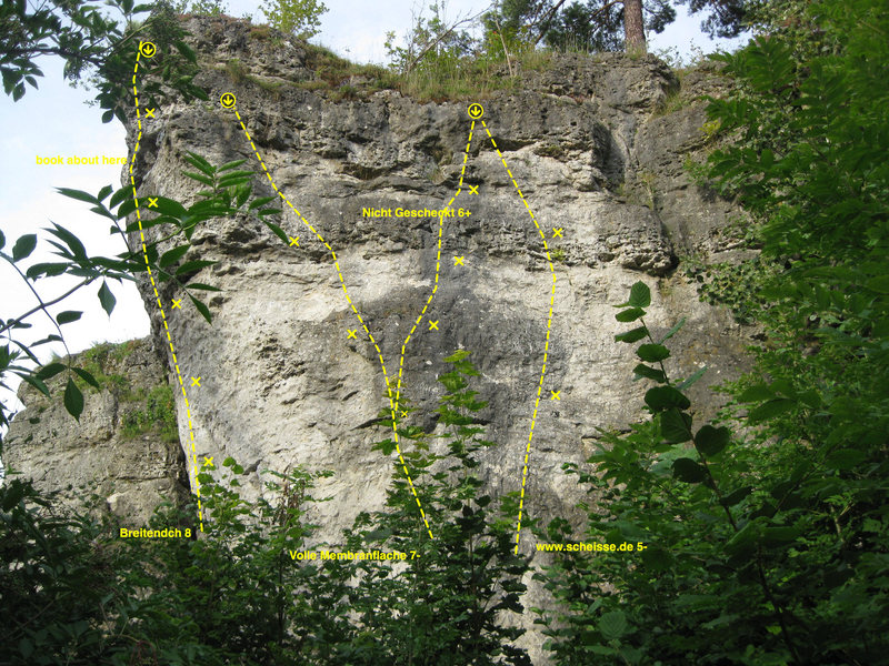 Rock Climbing Photo: Topo of the right side of Breitenstein