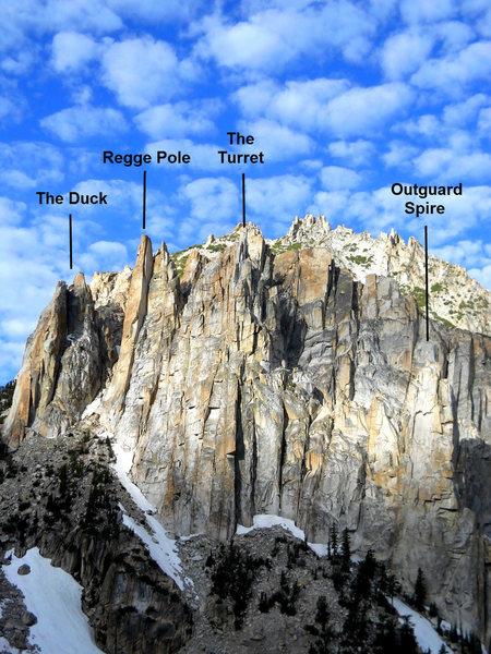 Rock Climbing Photo: The Little Slide Spires -  The Duck Regge Pole The...