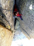 Rock Climbing Photo: Steep fist jams and offwidth near the end of the f...