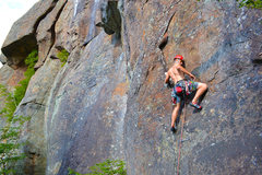 Rock Climbing Photo: Scott Arno moves with determination on the direct ...