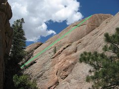 Rock Climbing Photo: Geez Louise (5.8), West Rock, Tres Piedras, NM.