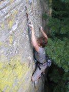 Rock Climbing Photo: Rhoads at the 2nd bolt.