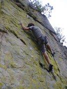 Rock Climbing Photo: Rhoads at the upper crux.