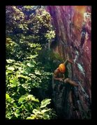 Rock Climbing Photo: Finding the good stance on the steep crack.