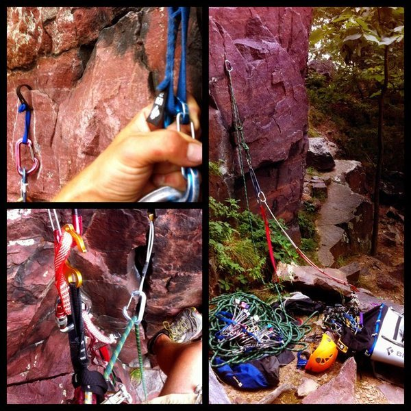 Epiphany aid solo, 8/8/11. Hard and scary, crack ends 40 or so feet up requires hook moves.