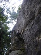 Rock Climbing Photo: Rhoads locking off on the crimp.