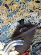 "Rock Climbing Photo: An old button-head on the ""5.8 groove"" p..."