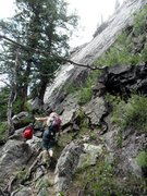 """Rock Climbing Photo: """"Two Ears"""" starts next to the pine tree ..."""