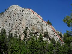 Rock Climbing Photo: The Nose route follows the red line, as seen from ...
