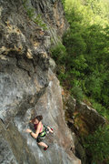 Rock Climbing Photo: nicole headed up the corner of goldbug after start...