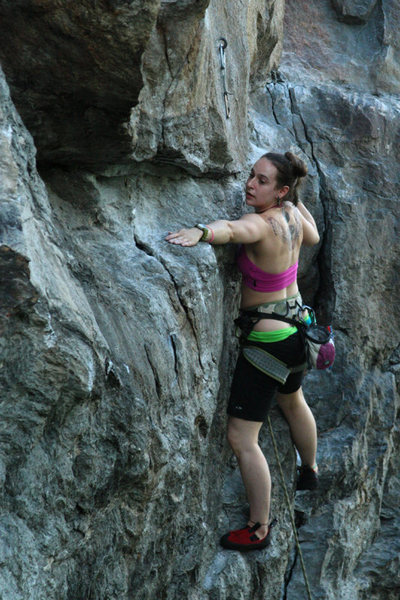 Rock Climbing Photo: nicole not beliving me that she can reach the hidd...