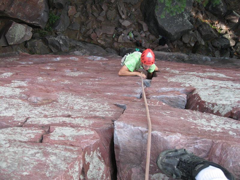 Rock Climbing Photo: Gabe climbing birch treech crack