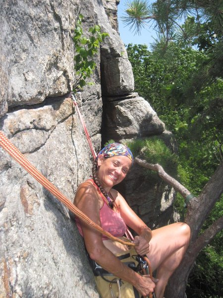 Rock Climbing Photo: Me, happy to belay on a hot day, high in the Gunks...