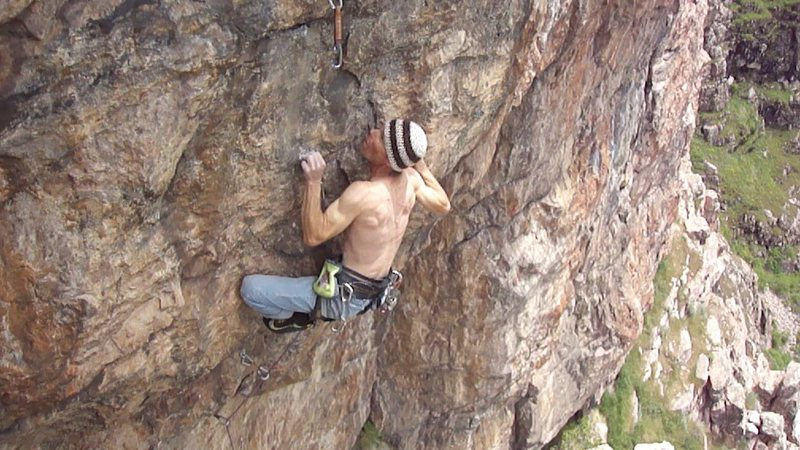 Fine sweep of gently overhanging rock, with an interesting mix of moves...