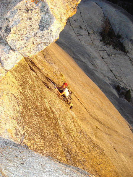 "Michy cranking out the end of the ""crux"" pitch."