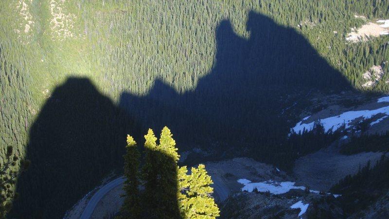 The Washington Pass summits cast a shadow below