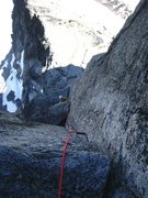 Rock Climbing Photo: Looking down the 1st 5.9 gendarme pitch