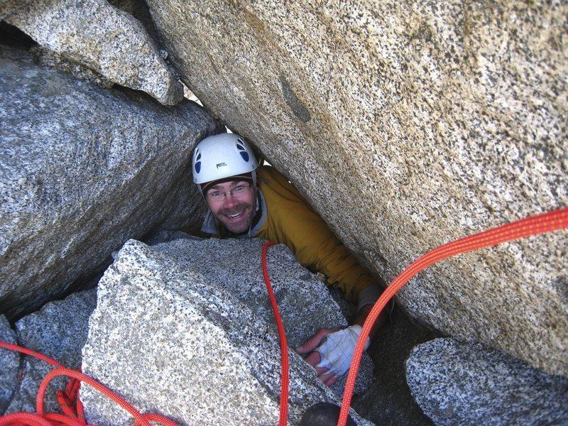 Rock Climbing Photo: Squeezing through the chockstone