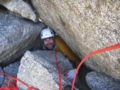 Rock Climbing Photo: Squeezing through the chockstone