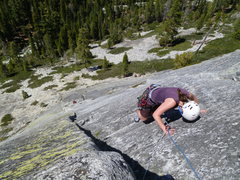 Rock Climbing Photo: Workin' the rail and almost through: a hot day lik...
