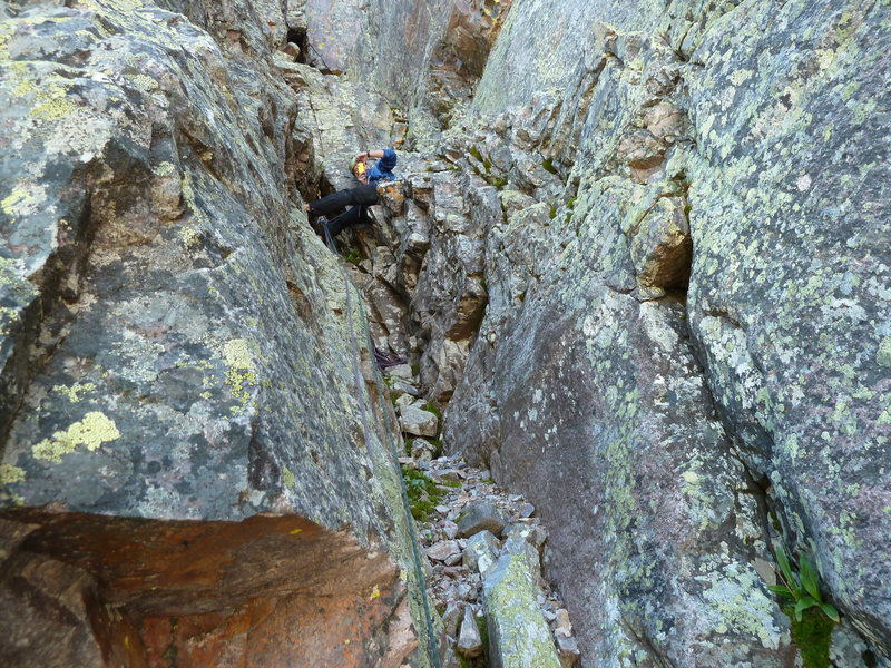 Rock Climbing Photo: Wes at the pitch 5 anchor