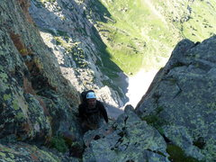 Rock Climbing Photo: Kelsea approaching the pitch 7 anchor