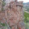 The routes on Cub Rock near Pika Pinnacle