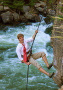 Rock Climbing Photo: Senior photo while rappelling.  Interesting climbi...