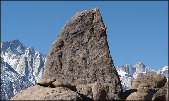 Jona Price on &quot;Shark's Fin Arete&quot;. Alabama Hills.<br> Photo by Blitzo.