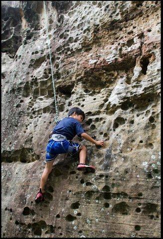 GG top roping in Hin Chang Si bouldering area, Khon Kaen region.