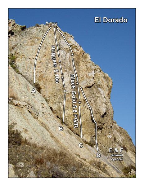 El Dorado updated topo. For more info. & topos go to: http://centralcoastclimbing.com/toposeguides.html