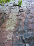 Rock Climbing Photo: Left side climbs straight up to the small overhang...